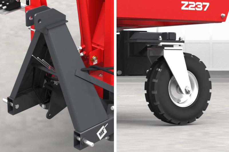 Owijarka do bel samozaładowcza Z237 Metal-Fach TUZ Trzypunktowy Układ Zawieszenia i Koło jezdne