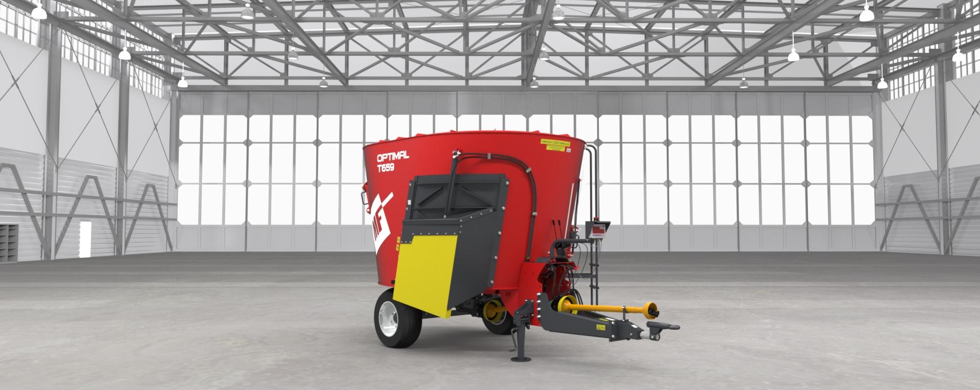 Wóz paszowy jednowirnikowy T659 OPTIMAL Metal-Fach Wóz w czerwonych barwach
