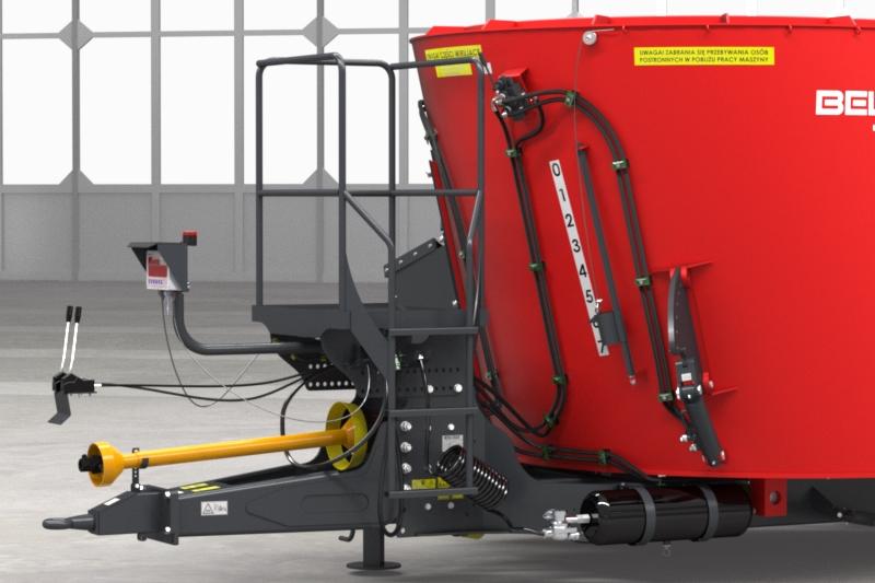 Wóz paszowy jednowirnikowy T659 BEL-MIX obniżony Metal-Fach Podest inspekcyjny