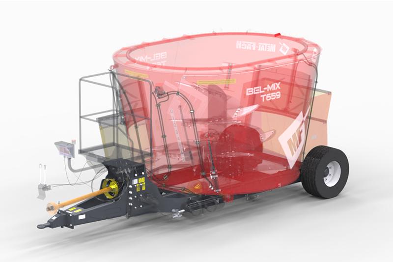 Wóz paszowy jednowirnikowy T659 BEL-MIX obniżony Metal-Fach Konstrukcja ramowa obniżona