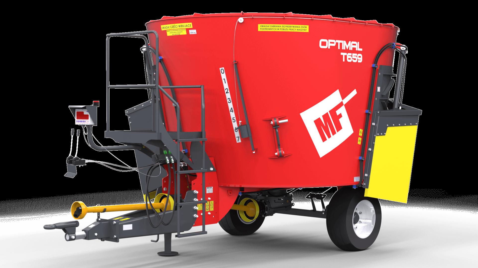 Wóz paszowy jednowirnikowy T659 OPTIMAL z podestem 8m3 Metal-Fach