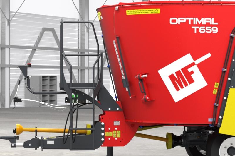 Wóz paszowy jednowirnikowy T659 OPTIMAL Metal-Fach Podest inspekcyjny